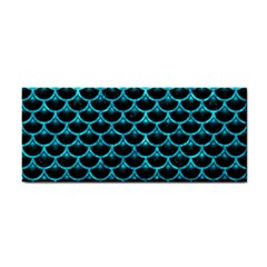 Scales3 Black Marble & Turquoise Marble Hand Towel
