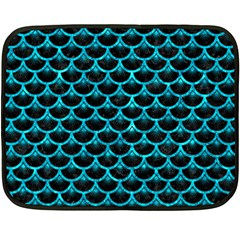 Scales3 Black Marble & Turquoise Marble Fleece Blanket (mini)