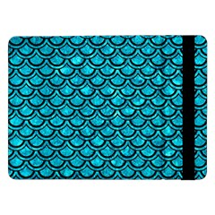 Scales2 Black Marble & Turquoise Marble (r) Samsung Galaxy Tab Pro 12 2  Flip Case