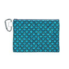 Scales2 Black Marble & Turquoise Marble (r) Canvas Cosmetic Bag (medium)