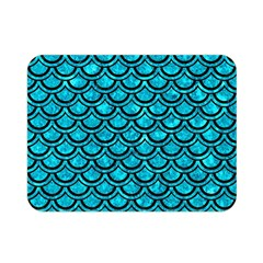 Scales2 Black Marble & Turquoise Marble (r) Double Sided Flano Blanket (mini)