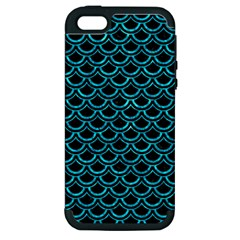 Scales2 Black Marble & Turquoise Marble Apple Iphone 5 Hardshell Case (pc+silicone)