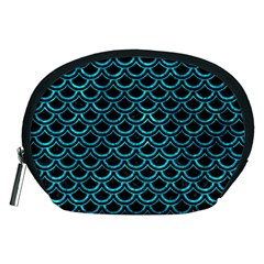 Scales2 Black Marble & Turquoise Marble Accessory Pouch (medium)