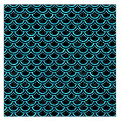 Scales2 Black Marble & Turquoise Marble Large Satin Scarf (square)