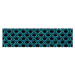Scales2 Black Marble & Turquoise Marble Satin Scarf (oblong)