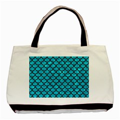 Scales1 Black Marble & Turquoise Marble (r) Basic Tote Bag (two Sides)