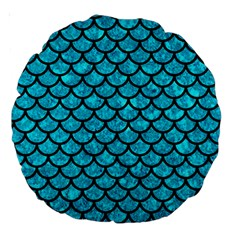 Scales1 Black Marble & Turquoise Marble (r) Large 18  Premium Round Cushion