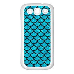 Scales1 Black Marble & Turquoise Marble (r) Samsung Galaxy S3 Back Case (white)