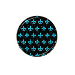 Royal1 Black Marble & Turquoise Marble (r) Hat Clip Ball Marker