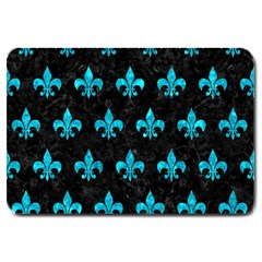 Royal1 Black Marble & Turquoise Marble (r) Large Doormat
