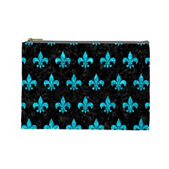 Royal1 Black Marble & Turquoise Marble (r) Cosmetic Bag (large)
