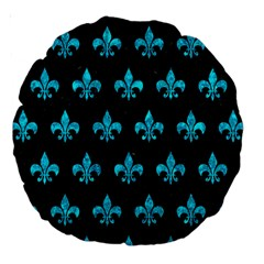 Royal1 Black Marble & Turquoise Marble (r) Large 18  Premium Round Cushion