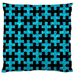 Puzzle1 Black Marble & Turquoise Marble Standard Flano Cushion Case (two Sides)