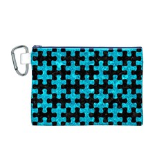 Puzzle1 Black Marble & Turquoise Marble Canvas Cosmetic Bag (medium)