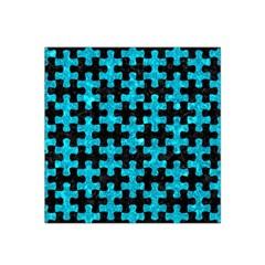 Puzzle1 Black Marble & Turquoise Marble Satin Bandana Scarf