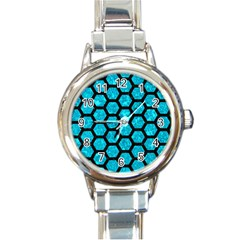 Hexagon2 Black Marble & Turquoise Marble (r) Round Italian Charm Watch