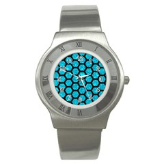 Hexagon2 Black Marble & Turquoise Marble (r) Stainless Steel Watch