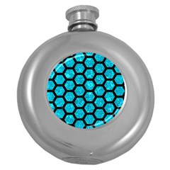 Hexagon2 Black Marble & Turquoise Marble (r) Hip Flask (5 Oz)