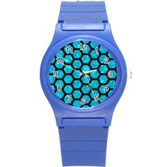 Hexagon2 Black Marble & Turquoise Marble (r) Round Plastic Sport Watch (s)