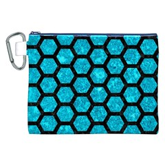 Hexagon2 Black Marble & Turquoise Marble (r) Canvas Cosmetic Bag (xxl)