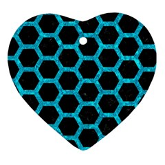 Hexagon2 Black Marble & Turquoise Marble Heart Ornament (two Sides)