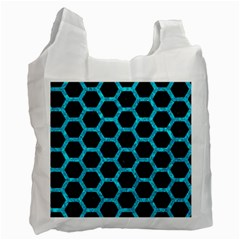 Hexagon2 Black Marble & Turquoise Marble Recycle Bag (two Side)