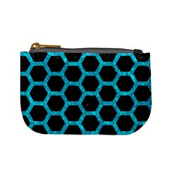 Hexagon2 Black Marble & Turquoise Marble Mini Coin Purse