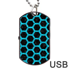 Hexagon2 Black Marble & Turquoise Marble Dog Tag Usb Flash (one Side)