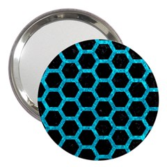 Hexagon2 Black Marble & Turquoise Marble 3  Handbag Mirror