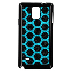 Hexagon2 Black Marble & Turquoise Marble Samsung Galaxy Note 4 Case (black)