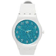 Hexagon1 Black Marble & Turquoise Marble (r) Round Plastic Sport Watch (m)