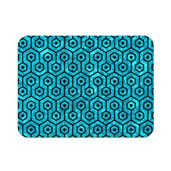 Hexagon1 Black Marble & Turquoise Marble (r) Double Sided Flano Blanket (mini)