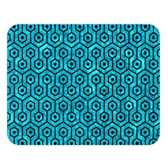 Hexagon1 Black Marble & Turquoise Marble (r) Double Sided Flano Blanket (large)