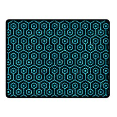 Hexagon1 Black Marble & Turquoise Marble Double Sided Fleece Blanket (small)