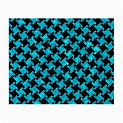 Houndstooth2 Black Marble & Turquoise Marble Small Glasses Cloth (2 Sides)