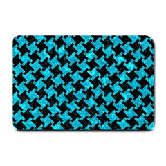 Houndstooth2 Black Marble & Turquoise Marble Small Doormat