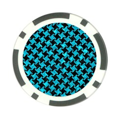 Houndstooth2 Black Marble & Turquoise Marble Poker Chip Card Guard (10 Pack)