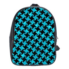 Houndstooth2 Black Marble & Turquoise Marble School Bag (xl)