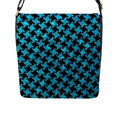 Houndstooth2 Black Marble & Turquoise Marble Flap Closure Messenger Bag (l)