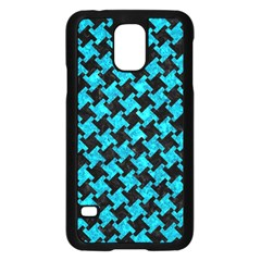Houndstooth2 Black Marble & Turquoise Marble Samsung Galaxy S5 Case (black)