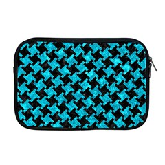 Houndstooth2 Black Marble & Turquoise Marble Apple Macbook Pro 17  Zipper Case