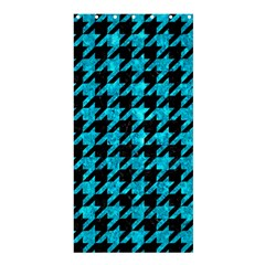 Houndstooth1 Black Marble & Turquoise Marble Shower Curtain 36  X 72  (stall)