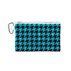 Houndstooth1 Black Marble & Turquoise Marble Canvas Cosmetic Bag (small)