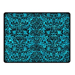 Damask2 Black Marble & Turquoise Marble (r) Double Sided Fleece Blanket (small)