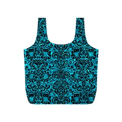Damask2 Black Marble & Turquoise Marble (r) Full Print Recycle Bag (s)