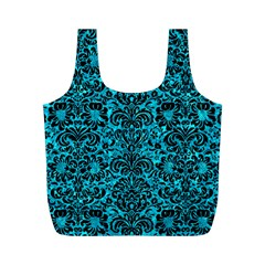 Damask2 Black Marble & Turquoise Marble (r) Full Print Recycle Bag (m)