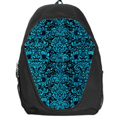 Damask2 Black Marble & Turquoise Marble Backpack Bag