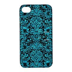 Damask2 Black Marble & Turquoise Marble Apple Iphone 4/4s Hardshell Case With Stand