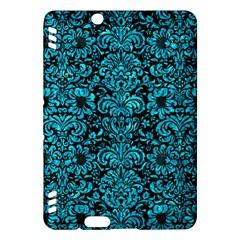 Damask2 Black Marble & Turquoise Marble Kindle Fire Hdx Hardshell Case