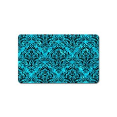 Damask1 Black Marble & Turquoise Marble (r) Magnet (name Card)